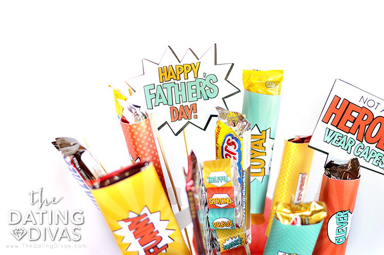 Candy Bouquet for Super Dad Gift Basket