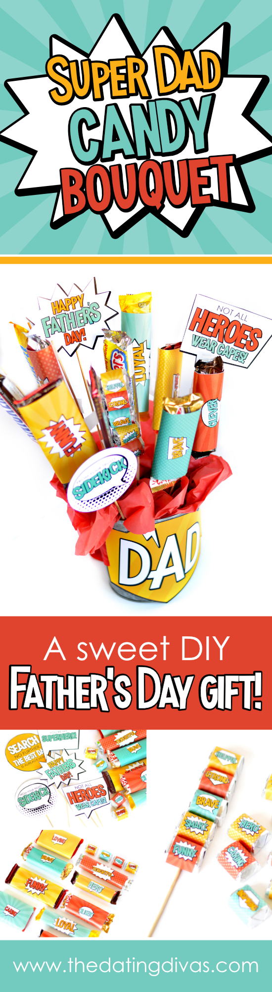 Stop desperately searching for a thoughtful Father's Day gift and give a homemade Father's Day gift that he's sure to love. Get everything you need to make a candy bar gift basket bouquet that's filled with his favorite treats and kind words that describe him as a dad, making it delicious and meaningful! #superherofathersday #superdad #candybouquet #fathersdaygift #giftbasketsformen