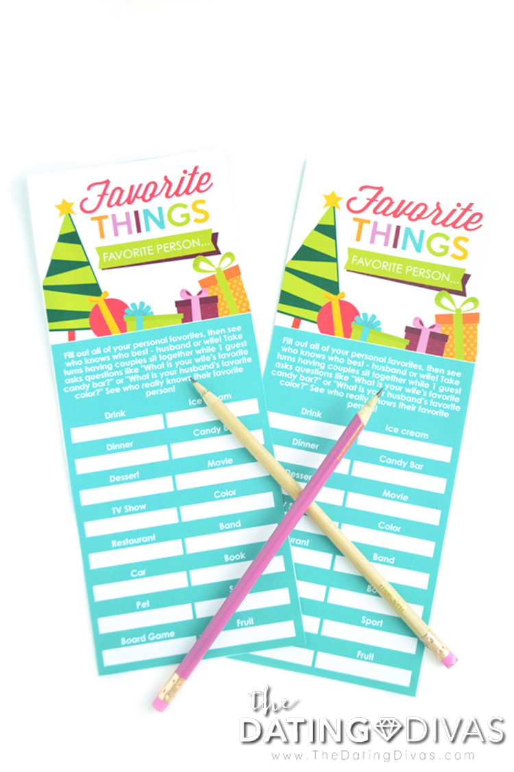 Couple's Christmas Party Favorite Things Game