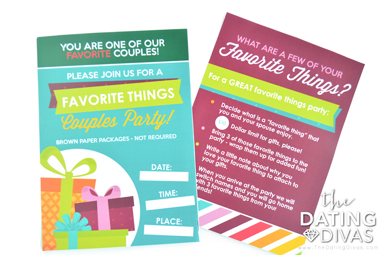 Couples Favorite Things Party Invite and Instructions