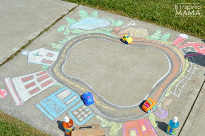 Sidewalk Chalk Ideas that Involve Making a Track for Cars and Bikes | The Dating Divas